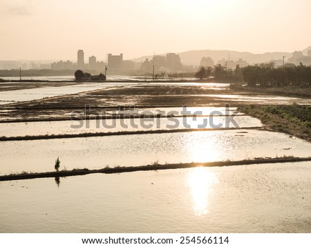 countryside in sunset - stock photo