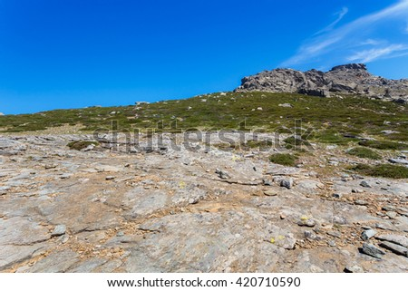 Countryside landscape against blue sky in Evia, Greece - stock photo