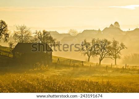 Countryside landscape golden morning fog in Prigorje region of Croatia - stock photo