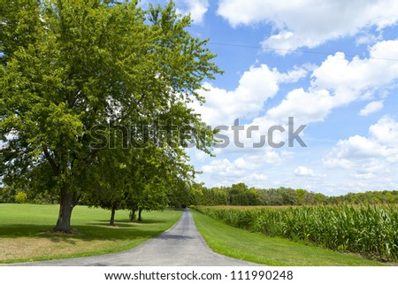 Countryside Landscape With Cloudy Sky - stock photo