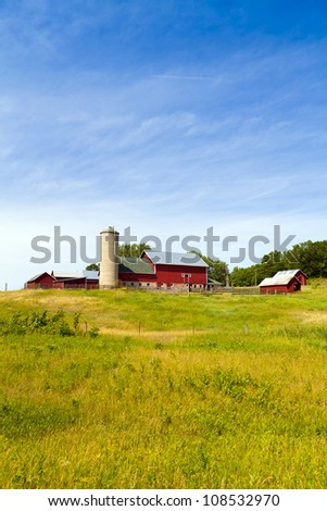 Countryside Landscape with Farm - stock photo