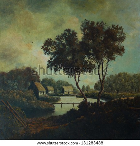 Countryside landscape with houses, a lake and a man walking - oil painting on canvas - stock photo