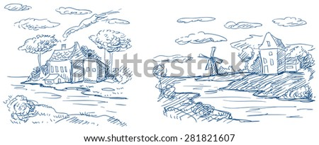 countryside landscapes with windmill and houses
