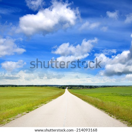 Countryside long road - stock photo