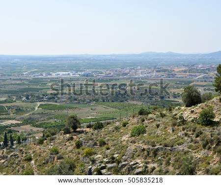 Countryside near to Valencia, Spain. Viewed from Monastery of St Michael at Lliria
