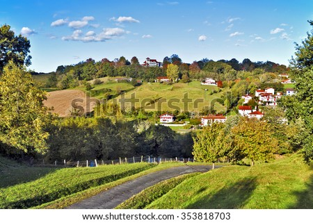 Countryside of Cambo-les-Bains, French  Basque country commune situated in Province of Labourd, Atlantic Pyrenees, Aquitaine, France, in the valley of Nive river