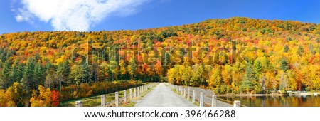 Countryside panorama view of Stowe with Autumn mountains and forest - stock photo