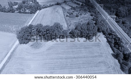 Countryside scenery, aerial view. - stock photo