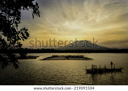 Countryside sunrise river, shot in a remote area, Philippines - stock photo