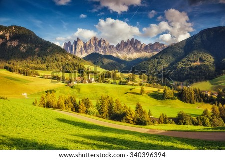 Countryside view of the Funes valley St. Magdalena or Santa Maddalena in the National park Puez Odle or Geisler. Dolomites, South Tyrol. Location Bolzano, Italy, Europe. Dramatic scene. Beauty world. - stock photo