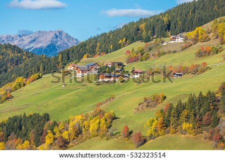 Countryside view of the valley St. Magdalena or Santa Maddalena in the National park Puez Odle or Geisler. Dolomites, South Tyrol. Location Bolzano, Italy