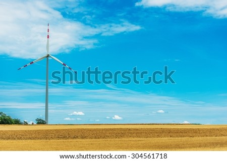 Countryside Wind Turbine. Northern Austria, Europe. Renewable Energy Source.