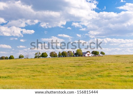 Countryside with beautiful sky. - stock photo