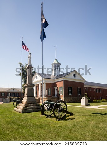 County courthouse and memorial to confederate soldiers in Appomattox town Virginia - stock photo