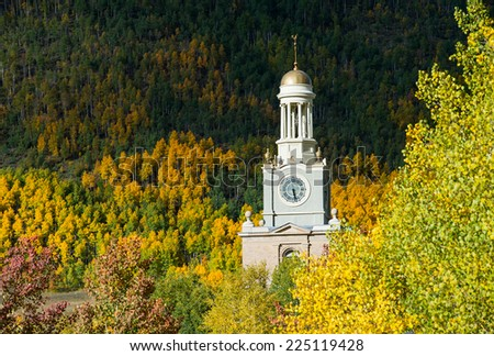 county courthouse building clock and tower in autumn in silverton, colorado - stock photo