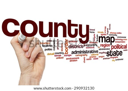 County word cloud concept - stock photo