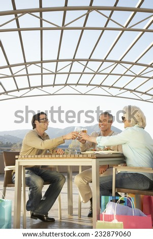 Couple and Young Man Toasting over Lunch - stock photo