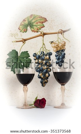 couple antique glasses of red wine background grape cluster decorated, romantic moment with flowers rose,photo with vignetting, natural light, vertical photo - stock photo