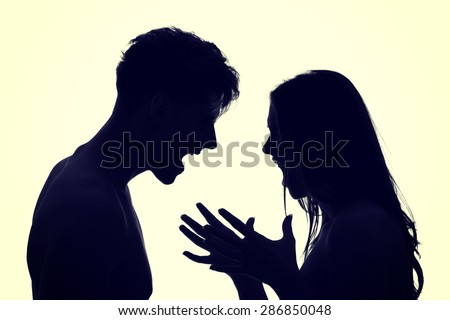 Couple arguing and shouting on each other - stock photo
