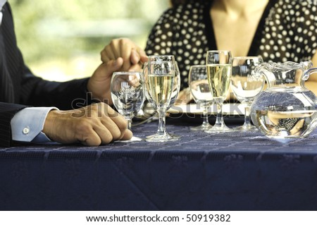 Couple at a restaurant - stock photo