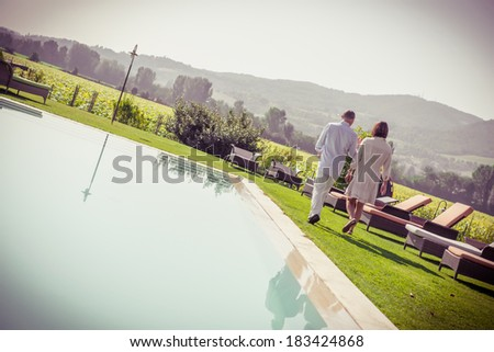 couple at resort - Stock - stock photo