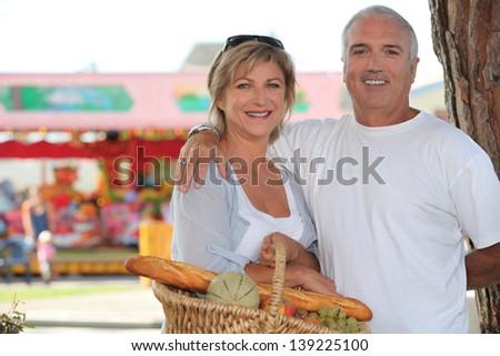 Couple at the market - stock photo