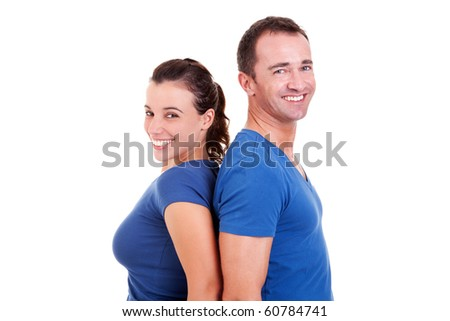 couple  back to back smiling, isolated on white, studio shot