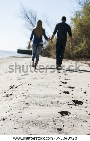 Couple blurred on the beach