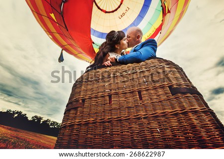 couple bride and groom kissing in basket of balloon