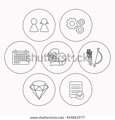 stock vector broken heart kiss wedding rings icons valentine amour arrows linear sign check file
