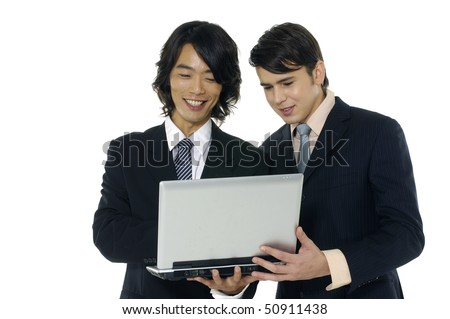 couple businesspeople using laptop