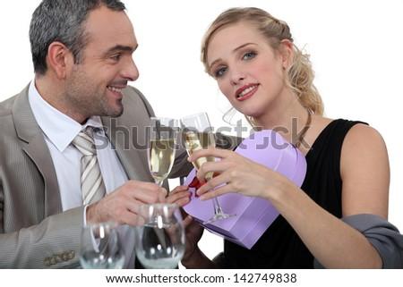 Couple celebrating Valentine's Day - stock photo
