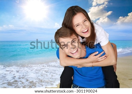 Couple, Cheerful, Happiness. - stock photo