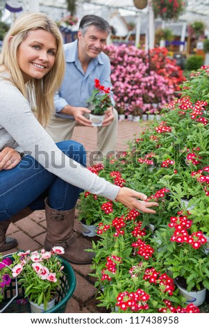 Couple crouching to look at red flowers in garden center