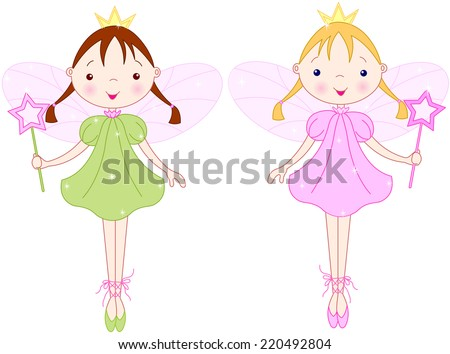 Couple cute fairies with magic wands - stock photo