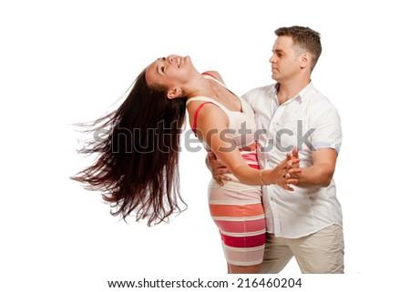 Couple dancing, isolated - stock photo