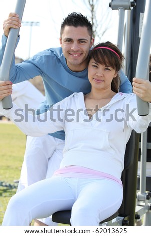 Couple doing sport outdoors