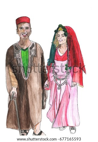 Couple dressed in tunisian wedding costumes watercolor illustration. Tourist entertainment hand drawn sketch.  sc 1 st  Shutterstock & Couple Dressed Tunisian Wedding Costumes Watercolor Stock ...