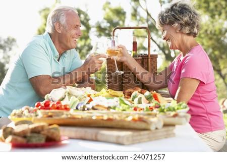 Couple Eating Al Fresco - stock photo