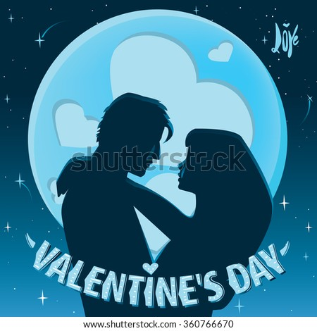 Couple embracing against the backdrop of the moon - Valentine's Day concept. Raster version of illustration