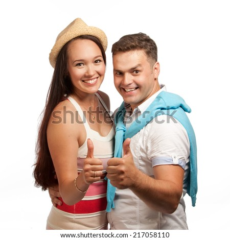 Couple embracing and looking, isolated - stock photo