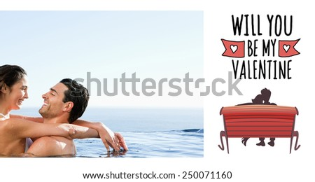 Couple embracing in the pool against cute valentines message - stock photo