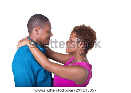 Couple embracing isolated on white