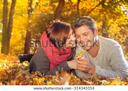couple enjoying autumn fall seasonal freetime - stock photo