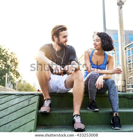 Couple Exercise Jogging Running Park Concept - stock photo