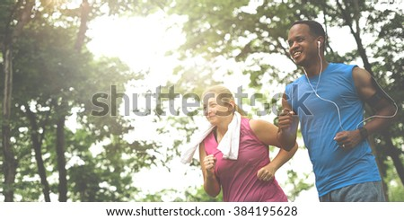 Couple Exercise Wearing Happiness Healthy Concept - stock photo