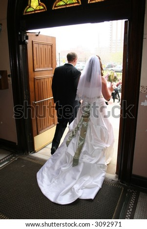 Couple exiting church