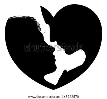 Couple faces heart silhouette concept. Silhouette of man and womans heads forming a heart shape