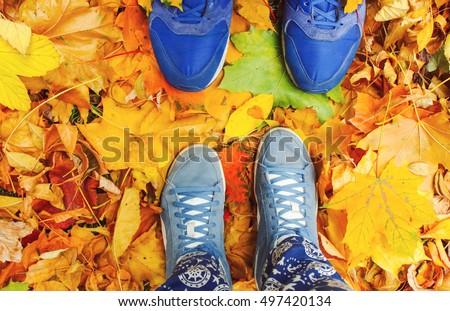 Couple Feet Man and Woman in Love Romantic Outdoor Lifestyle with nature on background