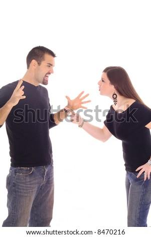 couple fighting - stock photo